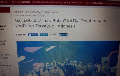 Wow Penghasilan Youtuber Indonesia Bisa capai 600 juta Setiap Bulan