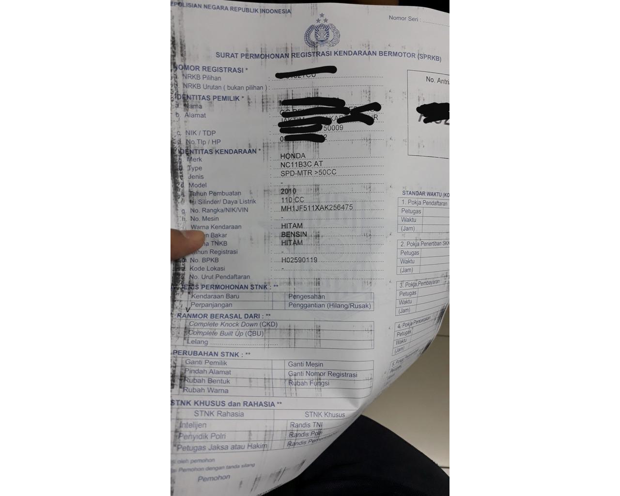 Isian Form Elektronik Pendaftaran Perpanjangan STNK
